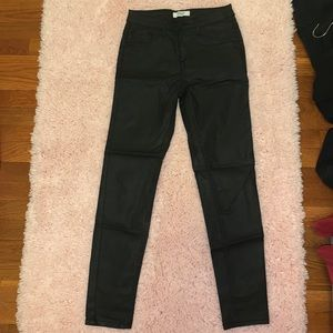 forever 21 black metallic finish jeans